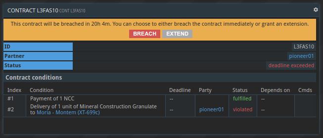 extend / breach contract